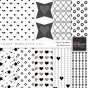 Heart Paper Templates 1-10 Kit