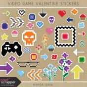 Video Game Valentine Stickers Kit
