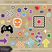 Video Game Valentine Stickers Kit