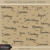 Handwritten Calendar Words