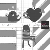 Be Mine- Cute Little Monsters Templates Kit