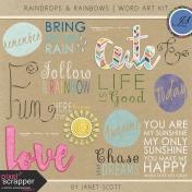 Raindrops & Rainbows- Word Art