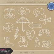 Raindrops & Rainbows- Clip Doodle Template Kit