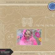 Raindrops & Rainbows- Doodle Template Kit 1
