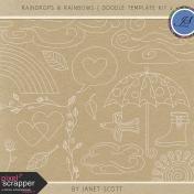 Raindrops & Rainbows- Doodle Template Kit 2