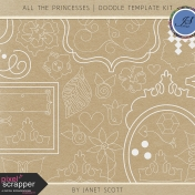 All the Princesses- Doodle Template Kit