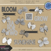 Garden Party- Butterfly and Word Art Template Kit