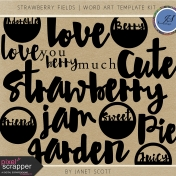 Strawberry Fields- Word Art Template Kit