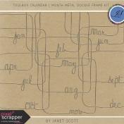 Toolbox Calendar- Month Metal Doodle Frame Kit