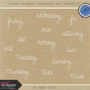 Toolbox Calendar- Large Doodle Days Template Kit