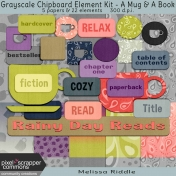 Grayscale Chipboard Element Kit- A Mug & A Book