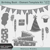 Birthday Bash- Layered Element Template Kit