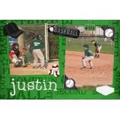 Justin playing baseball