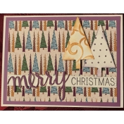 Christmas Card with Touch of Sparkle Trees paper