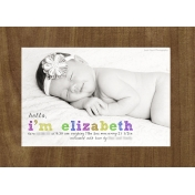 Sweet baby Elizabeth- Birth Announcement Postcard