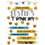 Dustins Emoji Birthday Party Invite Printable