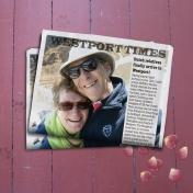 Selfie in mock newspaper