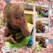 Aliya playing with blocks