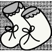 Baby Booties Doodle Template