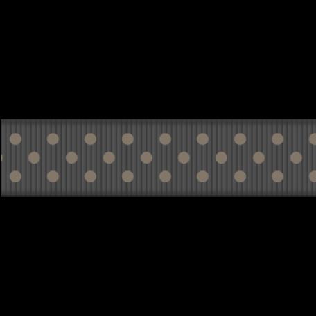Medium Ribbon - Polka Dots 01 - Tan & Gray