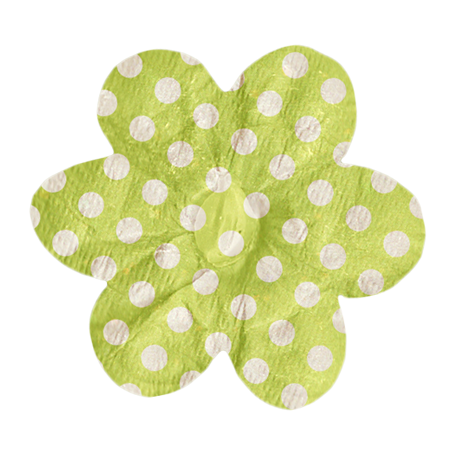 No Tricks, Just Treats - Green and White Polkadot Flower