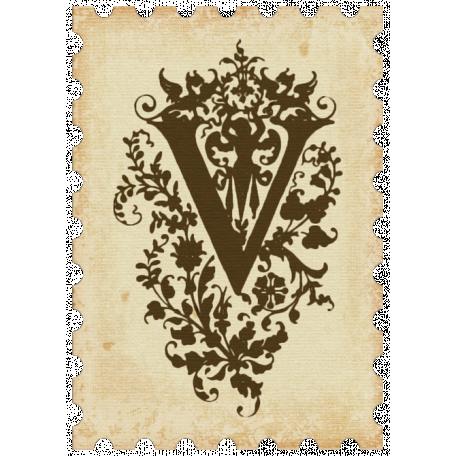 """Vintage - November Blogtrain Monogrammed """"V"""" Stamp"""