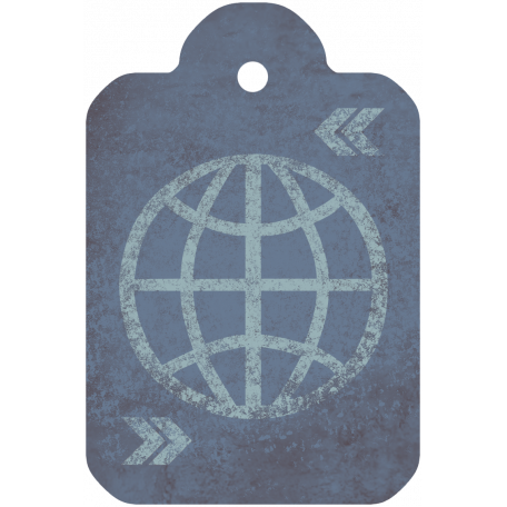 Footsteps Globe Tag