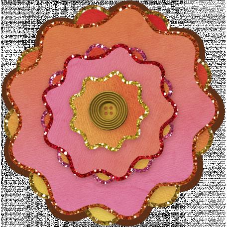 Paper Flower 11 - Pink & Orange