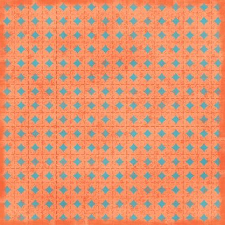 Argyle 05 Paper - Coral & Blue