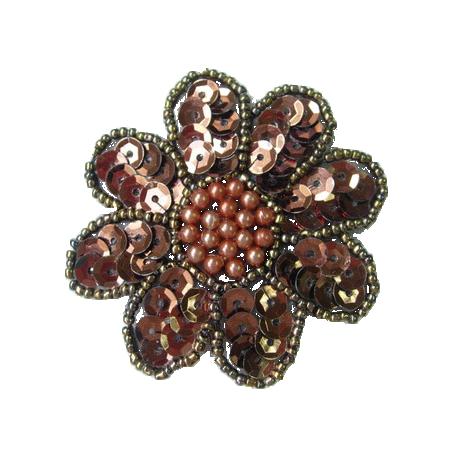 Brown Sequin Flower