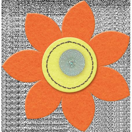 Taiwan Felt Flower 01c - Orange