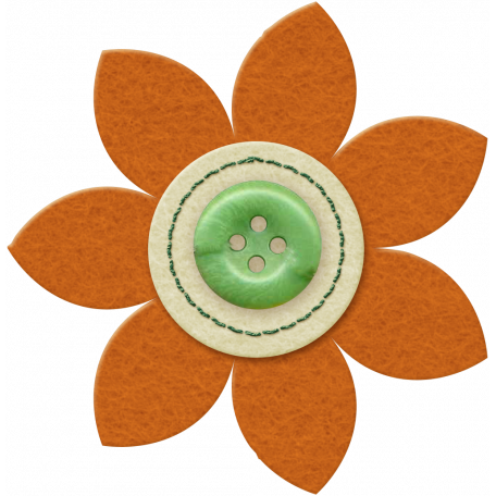 Taiwan Felt Flower 01j - Orange & Green