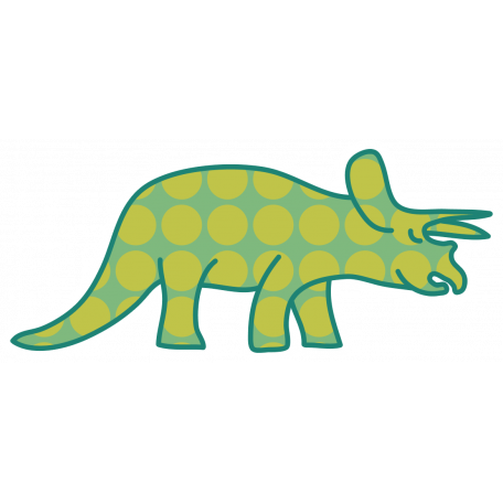 Dinosaurs Sticker - Triceratops - Green & Polka Dot