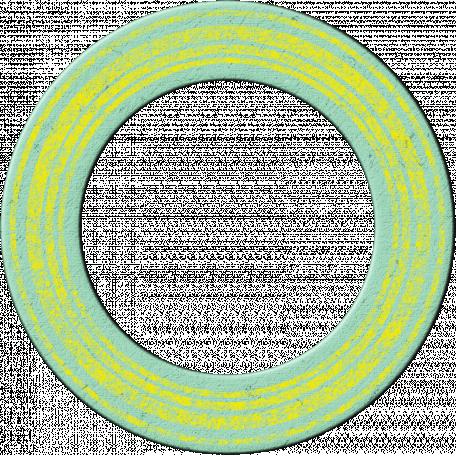 Cambodia Chipboard Circle - Doughnut Blue & Yellow