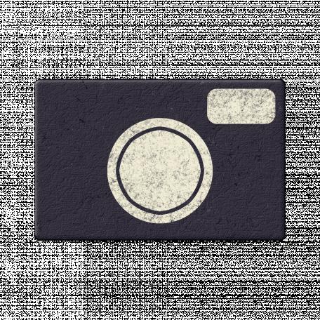 Navy Chipboard Camera
