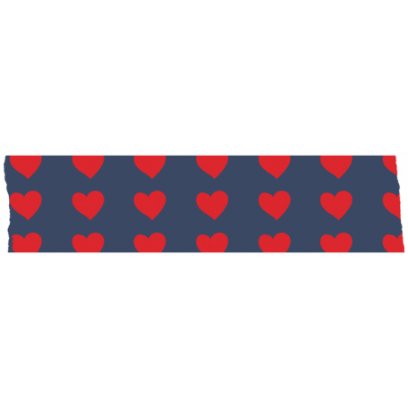 Like This Tape - Blue With Read Hearts