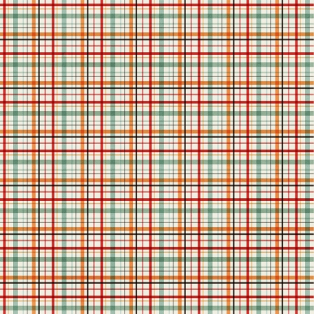 Plaid Paper 11 - Red, Orange & Mint