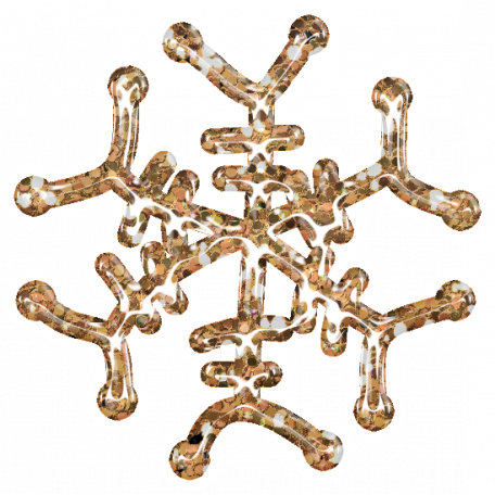 Snowflake Glitter Sticker - Orange