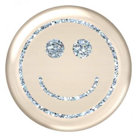Emoticon Glitter Brad - Blue