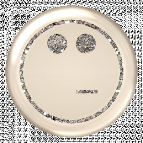 Emoticon Glitter Brad - Silver