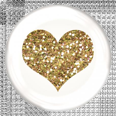 Heart Glitter Brad - White & Gold