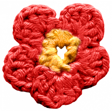 Arrgh! - Red Crochet Flower