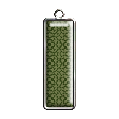 Green Patterned Rectangle Pendant