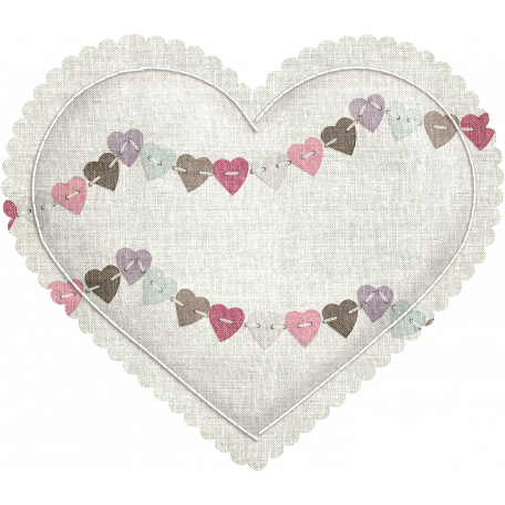 Be Mine - Bunting Fabric Puffy Heart