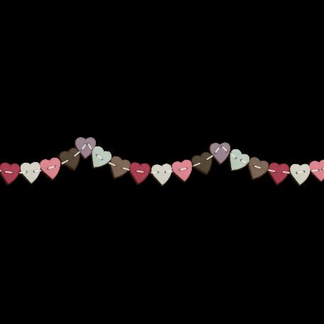 Be Mine Mini Stitched Heart Bunting - Shadowed
