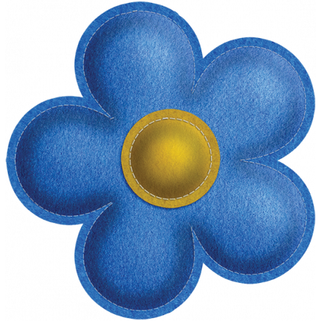 Quilted With Love - Modern - Blue Stitched Felt Flower