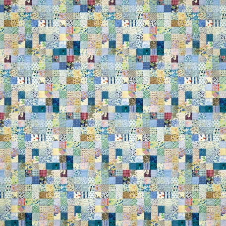 Quilted With Love - Modern Blue Patchwork Quilt Paper 2
