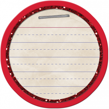 School Tag Circle Red