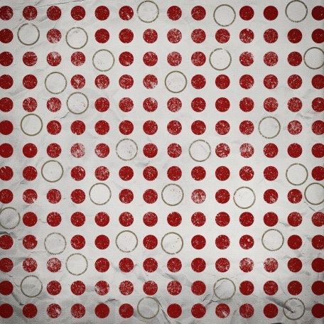 Paper Dots Circles Distressed Tan Red