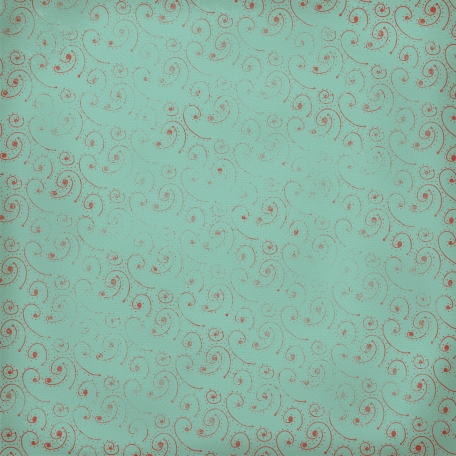 Snow Day Red Swirly Dots Teal Paper